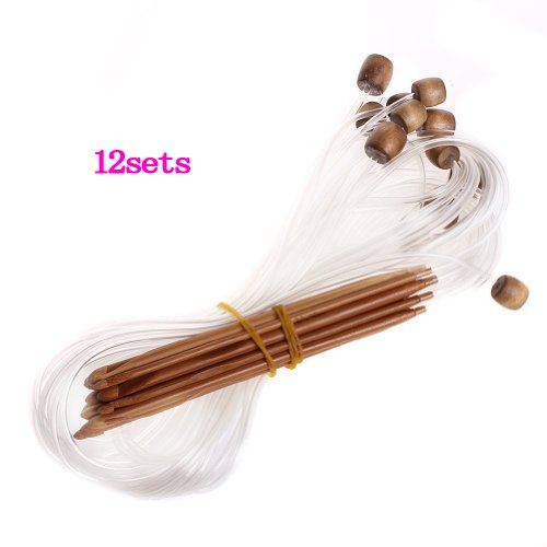 12 Tamaños Afgano Tunecino Ganchillo De Bambú Carbonizado
