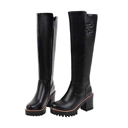 Shoes Haut Élevé Noir Cuir à Boucle Haut Couleur PU Femme Unie AgeeMi Talon Bottes SwqdAPP