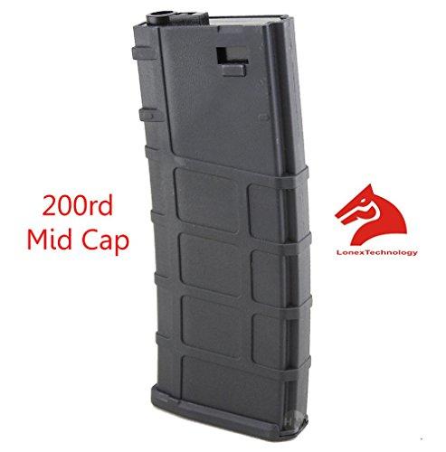 Lonex Airsoft M Series Scar Plastic Black PMAG Magazine 200 RDS ASG MID Cap (Airsoft Midcap M4 Magazine)