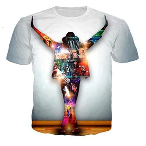 Musik Paar Kostüm - JJZHY Michael Jackson Kostüm 3D-Druck Paar Männer und Frauen T-Shirt Kurzarm,Weiß,M