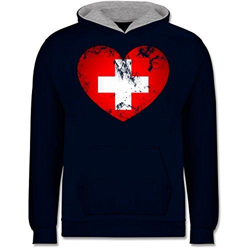 Kontrast Herz (Shirtracer Fußball-Europameisterschaft 2020 Kinder - Schweiz Vintage Herz - 12-13 Jahre (152) - Navy Blau/Grau meliert - JH003K - Kinder Kontrast Hoodie)