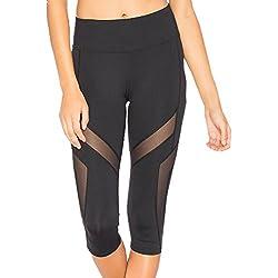 ZKOOO Pantalones de Yoga Mujer 3/4 Largo Leggings Mallas Elastico y Transpirable Desportivos Gimnasio Entrenamiento Pantalon Negro