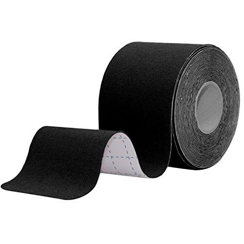 STpro Elastische Wasser Verband Physio Therapeutische Hilfe Therapie Kinesiologie Tape physiotherapy 5cm x 450cm ungeschnittenes Therapeutic Tape Fuer Arme, Haende & Finger Erste Hilfe Tape,Schwarz,1 Rolle