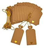 Parxara Gift Tags Christmas with Gold Lovely Heart Large DIY Brown Kraft Tags 36 PCS for Wedding Birthday Christmas Gift Tags with 10 Meters Gold String (Brown)