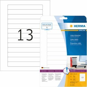 HERMA Video-Etiketten (Rücken) weiß 147,3x20mm Special A4