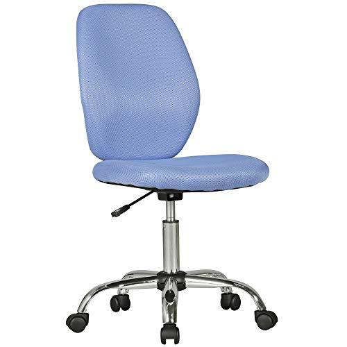 KS-Furniture Kinderschreibtischstuhl Emma blau für Kinder ab 6 mit Lehne | Kinder-Drehstuhl Kinder-Bürostuhl ergonomisch | Jugendstuhl höhenverstellbar | Kinderschreibtischstuhl ohne Armlehne