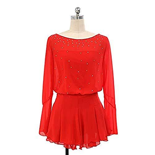 Kmgjc Eiskunstlaufkleid, Frauen-Mädchen-handgemachte Eislauf-Wettbewerbs-Kostüm-EIS-Tanz-Show-Strumpfhose-Lange Hülsen-Kristallklage Normallack-Eislauf-Abnutzung (Color : Red, Size : S) -