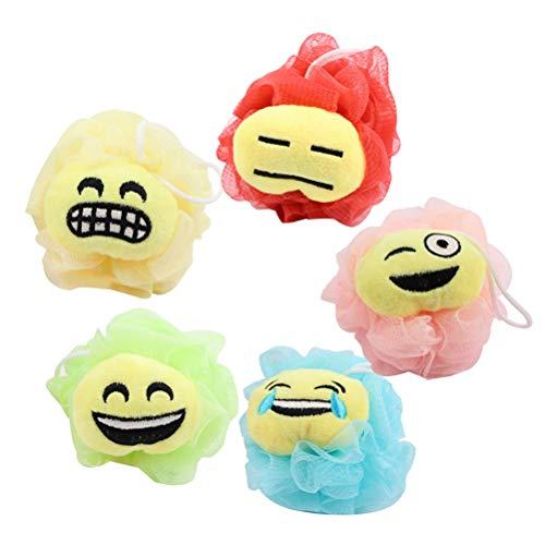 Frcolor Badeschwamm Emoticon Muster Bad Luffa Dusche Schwämme Dusche Mesh Pouf Körper Scrubber Ball 5 Stück