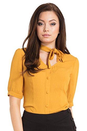 Voodoo Vixen Candice Hals Bogen Vintage Style Bluse - Gelb (L - DE 38)
