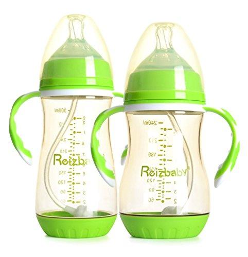 Reizbaby Anti-Kolik Babyflasche,Weich Silikon Flaschensauger,2er pack (Grün)