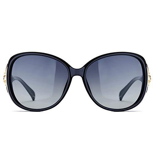 Easy Go Shopping Head Sonnenbrillen Womens Big Frame Polarized Glasses Klassische vielseitige Sonnenbrille Fashion Fox Sonnenbrillen und Flacher Spiegel (Color : Schwarz, Size : Kostenlos)