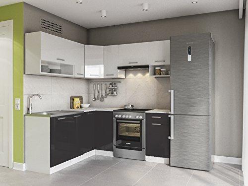 Eldorado möbel küche lux 190 cm schwarz l form küchenzeile eck küchenblock