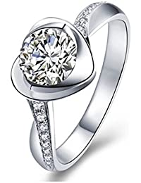 f2711f32d Qinlee Women Ring Heart Crystal Ring Diamond Bend Size Adjustable Open Rings  Wedding Jewelry For Lady