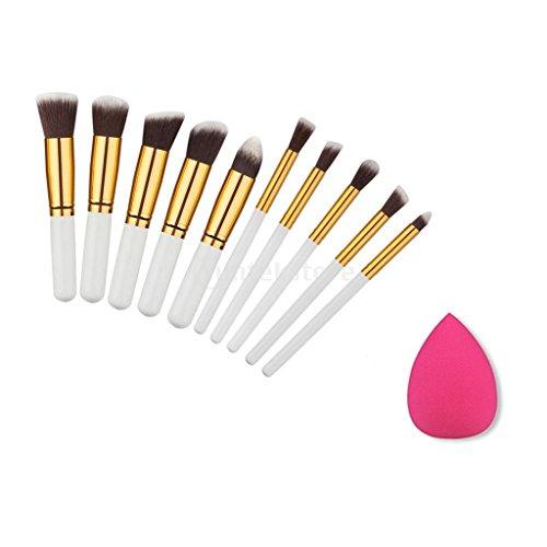 Kit de Maquillage 10pcs Brosse + Eponge Blender à Visage Yeux Lèvres - Blanc doré