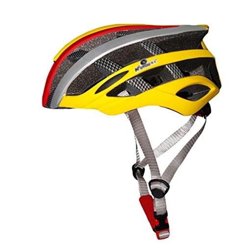 Yuncai Leicht Poröse Belüftung Fahrradhelm Einstellbar Draussen Sports Schutzhelm Für Herren und Damen Gelb Rot Silber 57-62CM