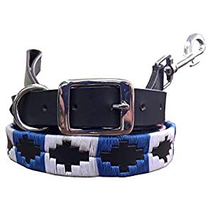 CARLOS-DIAZ-Genuine-Leather-Matching-Pair-Waxed-Embroidered-Polo-Dog-Collar-and-Lead-Set-M