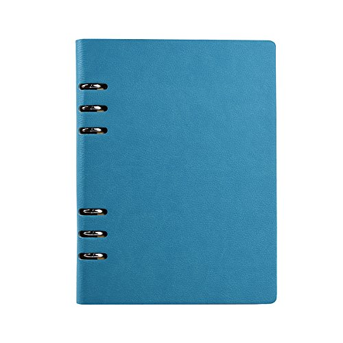 Jia HU A6Leder Binder Ringe Taschen Diary Tagebuch Notizbuch Portfolio Organizer 150Seiten hellblau (Portfolio Seite Klare)