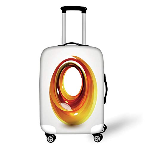 Travel Luggage Cover Suitcase Protector,Abstract,Orange Swirl with Ombre Design Elements Vivid Ball Curvy Figure Decorative,Orange Dark Orange Yellow,for Travel