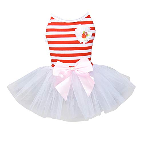 Sunshay Welpen Tutu Kleid Kleiner Hund Welpen Katze Prinzessin Kleid Hund Stripes Printed Kleidung Bekleidung Hundkostüm