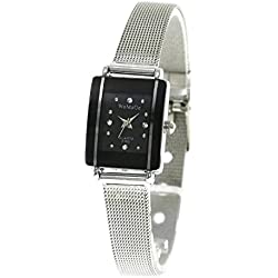 QBD Womens Girl's Stunning Luxury Crystal Steel Strap Watch (Black Mesh)