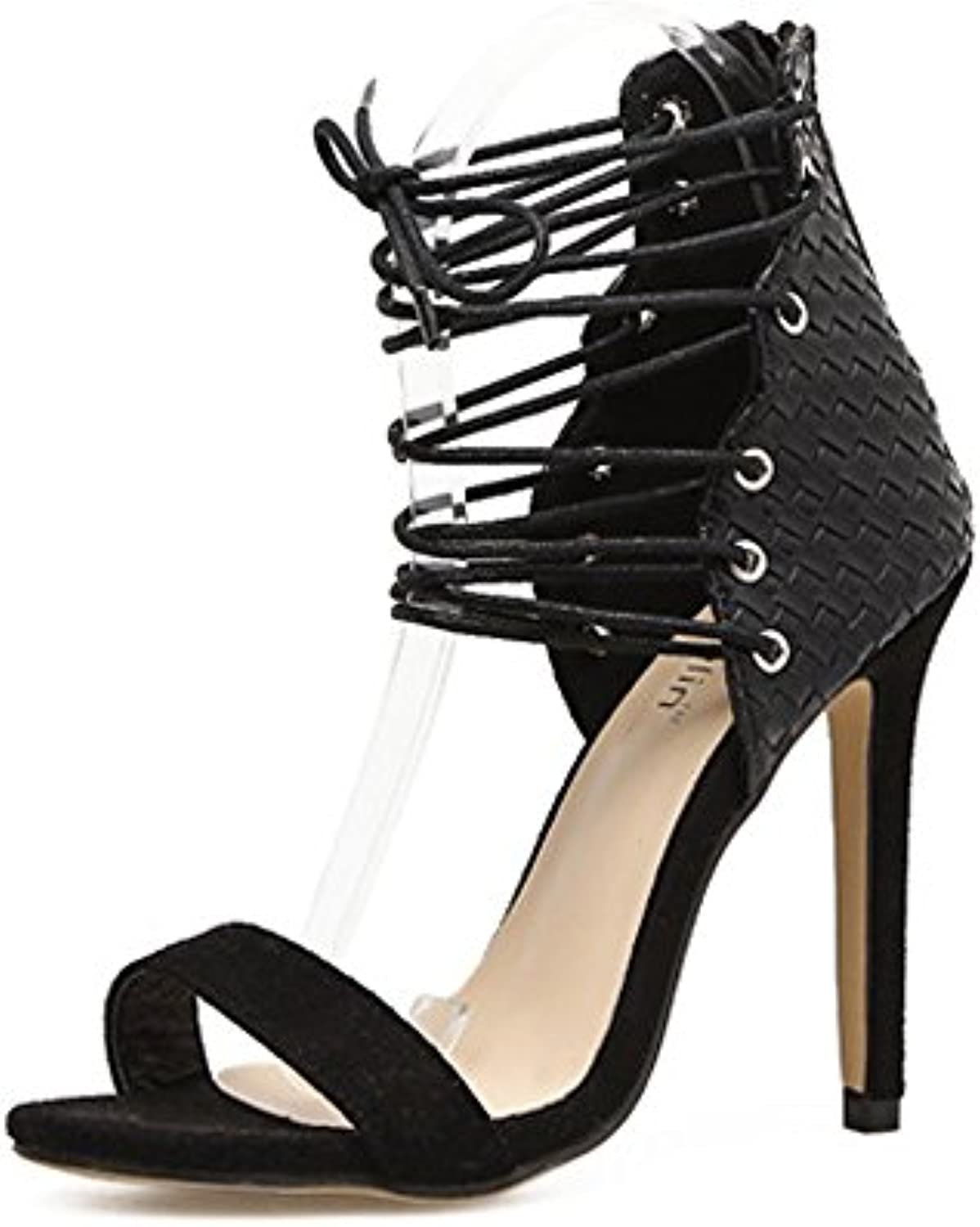 GAOLIXIA Frauen Open Toe Cross Back-Strap Leder Sandalen High Heel Party Prom Street Schwarz Blau Optional