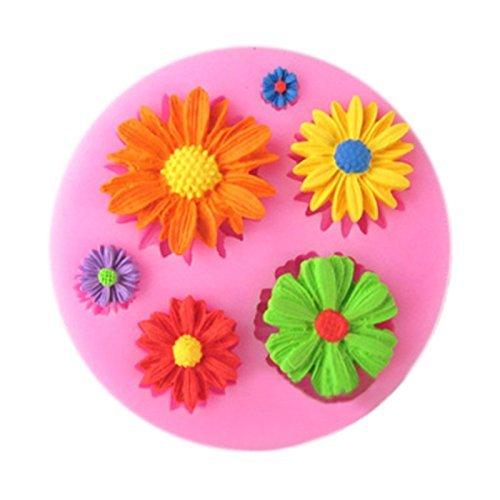 3D Blumen Motive DIY Silikonform Ausstechformen Muffin Torten Schokolade Keks Gelee Mini-Cupcake Silikonformen Tortedeko Torten Rand Ausstecher