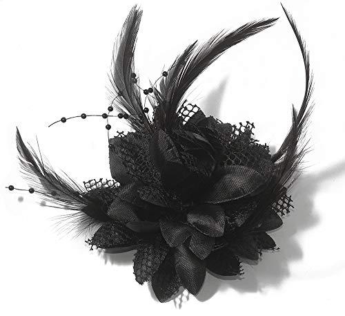 Damen Haarblumen mit Feder und Perle, Haarspange Blume Haarschmuck Hutfeder Clip Brosche (Schwarz)