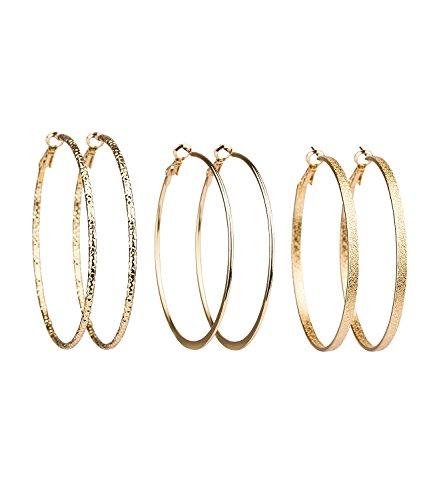 SIX 3er Set goldene Creolen, Damen Ohrringe, Ohrhänger in gold, verschiedene Größen und Strukturen (708-310)
