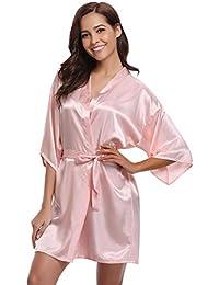 Abollria Mujer Kimono Pijama Corto Bata de Satén Kimono Mujer Batas Cortos Brillante
