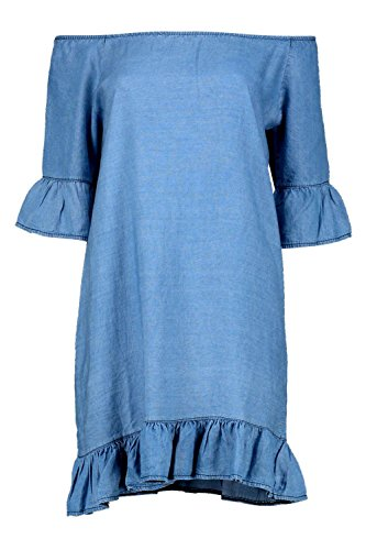 Bleu Hommes Lucy Ruffle Of The Épaule toile Robe Bleu