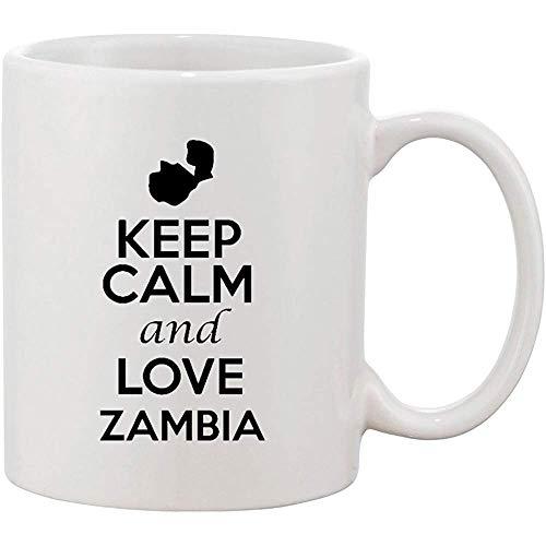 Behalten Sie Ruhe und Liebes-Sambia-Afrika-Land-Karten-patriotische keramische weiße Kaffeetasse