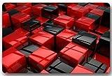 Custom Black and Red Cube House Welcome Door Mat Rug Indoor/Outdoor Mats Welcome Doormat Decor Rug