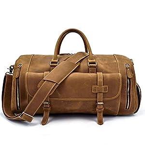 FZYQY Vintage Leder Reisetasche, Herren Umhängetasche/Crossbody Tasche, Handgepäck Tasche Mit Schuhen Sitz, Braun