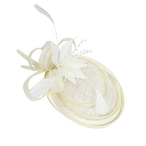 Sharplace Fascinator Fleur Plume Mini Chapeau de Côté Cheveux Couvre-chef Vintage - Beige