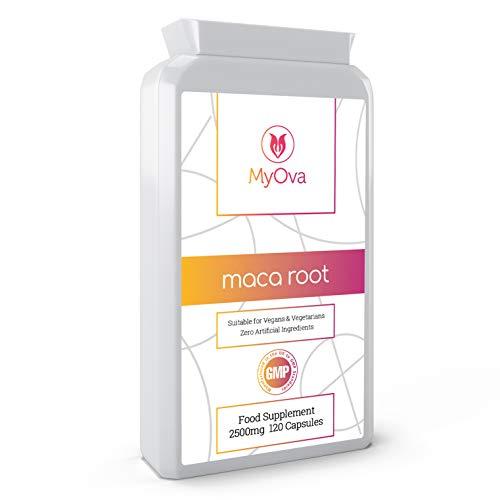 MyOva - Suplemento de raíz de maca - Extracto de gran potencia - Producto vegetariano - 2500 mg, 120 cápsulas