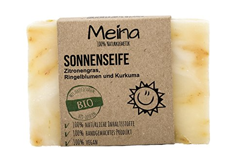 Meina Naturkosmetik - Seife mit Zitronengras, Ringelblumen und Kurkuma (1 x 110 g) 100% natürliche, vegane, handgemachte Bio Naturseife - Körperpflege und Gesichtspflege - Akne-duschgel