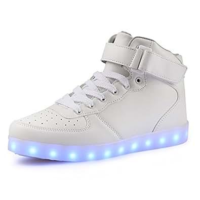 AFFINEST Unisexe Adulte Haut Lumineuse Chargeur USB 7 Couleurs LED Chaussures Homme Femme (EUR33,Blanc)