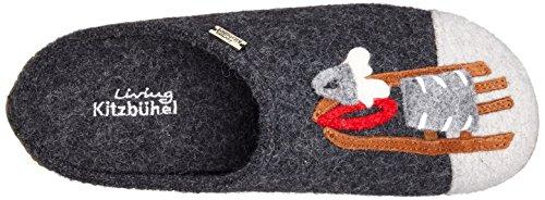 Living Kitzbühel Pantoffel Appl. Hund & Rodel, Ciabatte Donna Nero (Schwarz (anthra 600))