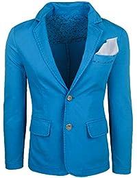 3d932a5e20c5a Evoga Giacca Uomo Casual Celeste Slim Fit Elegante in Cotone con Pochette  da Taschino