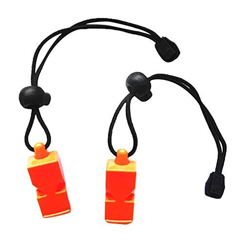 MagiDeal 2 Pieces Safety Loud Whistle Survival Camping Hiking Sports Diving Rescue Emergency Outdoor Survival Gear Tool - Choice of Color - Orange