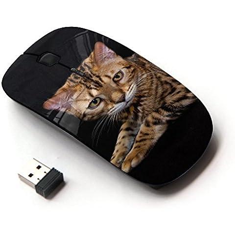 Peculiar-Star ( Toyger Ocicat Bengal Serengeti Cat ) Impreso colorido ultrafino sin hilos óptico del ratón de 2,4 GHz-Negro