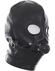 SEX WOMEN Máscara de boca El desempeño Máscara de rol Máscara de asfixia cuero expuesto bola del ojo