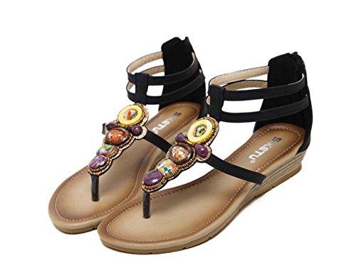 Femmes Flip Flops Dorsay Sandales Brides À La Cheville Chaussures De Sport Simple Pur Couleur Strass Rome Chaussures Vacances Seabeach Eu Chaussures Taille 35-42 Noir