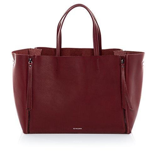 "FEYNSINN® Handtasche mit langen Henkeln JAX ZIP - Damen Schultertasche groß Ledertasche fit für 13 "" Zoll Laptop, iPad - Handtasche Damentasche echt Leder marsala"