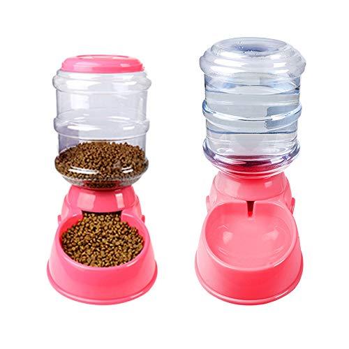 Decdeal Futterautomat Wasserspender Automatischer Futterspender für Hund und Katze 3,5 Liter Rosa