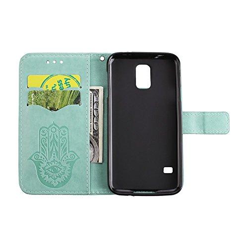 EKINHUI Case Cover Geprägte Palmen-Blumen-Muster Retro PU-lederne Mappen-Beutel-Kasten-Abdeckung mit Einbauschlitzen und Abzuglinie für Samsung-Galaxie S5 ( Color : Pink ) Green