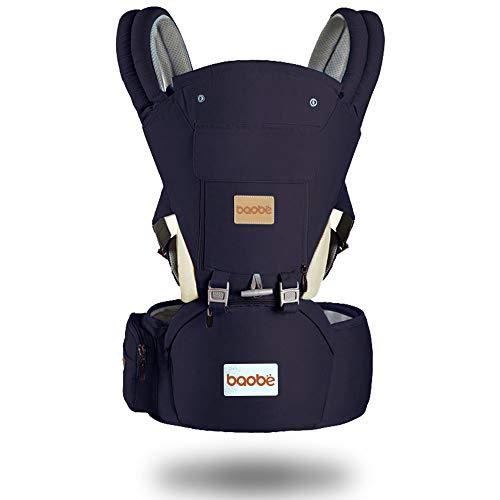 Arkmiido Babytrage mit hüftsitz,verstellbar - für Neugeborene & Kleinkinder ,Kindertrage Rückentrage Hüfttrage für alle Jahreszeite träger (blau) (3,5-20kg)