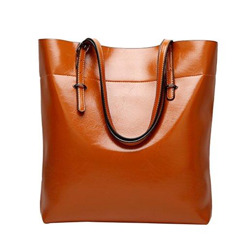 YiLianDa Taschen Damen PU Leder Elegant Handtasche Schultertaschen Umhängetasche Shopper Tasche Henkeltasche Beuteltasche Braun