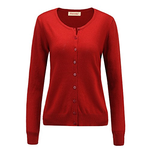 Panreddy Women's Wool Cashmere Classic Cardigan Sweater L Dark Red (Cashmere Long Classic Sleeve)