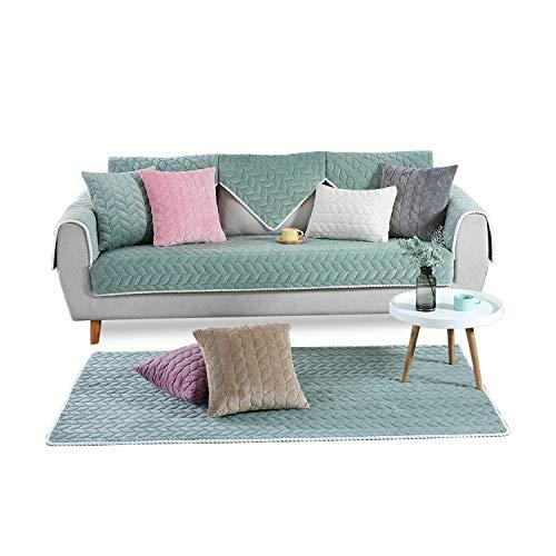Grünes Stoff Sofa Couch (PETCUTE Sofabezug Sofaüberwurf couchbezug sofahusse Gesteppte Sofabezüge Sofa Schonbezug Couch Sofa überwurf ecksofa Grün 110X240cm)